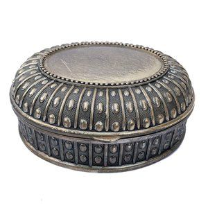 Vintage Silver Plated Oval Jewelry Trinket Box